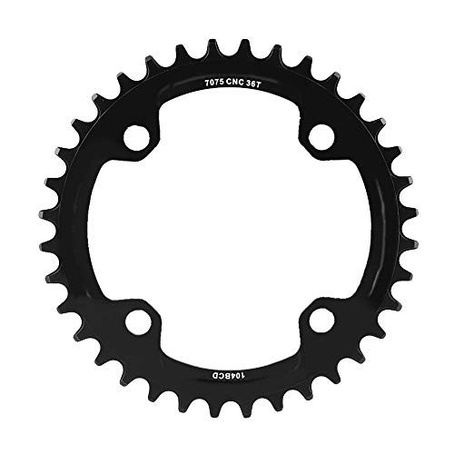 36 Einzel -, (Alomejor Fahrrad Kettenblatt 32/34/36/38T BCD 104mm Stahl Einzel Kurbelkette Ring Ersatzteile für Mountainbike(36T-Schwatz))