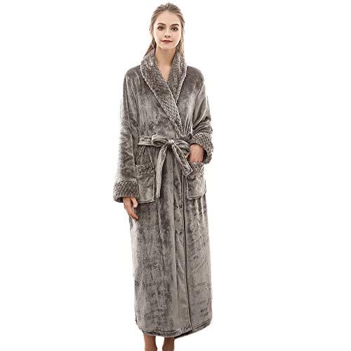 ASHOP Damen - Bademantel lang, Kimonokragen, Größen: S bis XXL verfügbar, Farbe Grün/Grau/Lila/Rot/Weiß, Morgenmantel Grau,XXXL