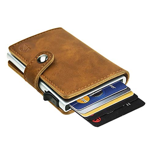 9c3cf0888 Dlife Tarjetero RFID Cartera Crédito, Cartera de Aleación de Aluminio  Multiuso Bolsillos, Cuero PU