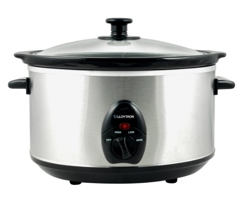 Lloytron Brushed Steel Oval Slow Cooker, 3.5 Litre