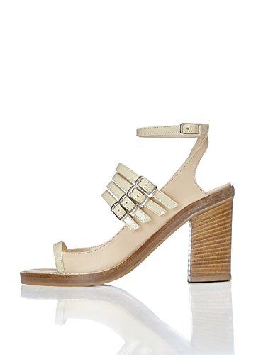 FIND Damen Sandalen mit Knöchelriemen Beige (Beige)