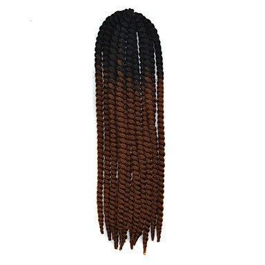 GANTA @ Schwarz ombre dunkelbraun havana crochet twist zöpfe haarverlängerungen 22 kanekalon 2 strang 120g gram haare zöpfe , black/dark auburn