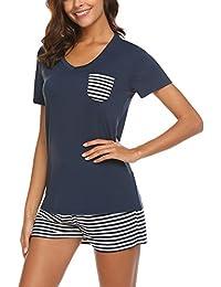 Unibelle Schlafanzug Damen Kurz Sommer Pyjama Nachtwäsche Hausanzug Kurzarm Rund Ausschnitt Sleepshirt Zweiteiliger S-XXL