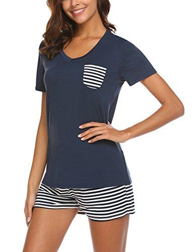 UNibelle Damen Schlafanzug Kurz Baumwolle Sommer Pyjama Nachtwäsche Hausanzug Kurzarm Rund Ausschnitt,Navyblau,L -