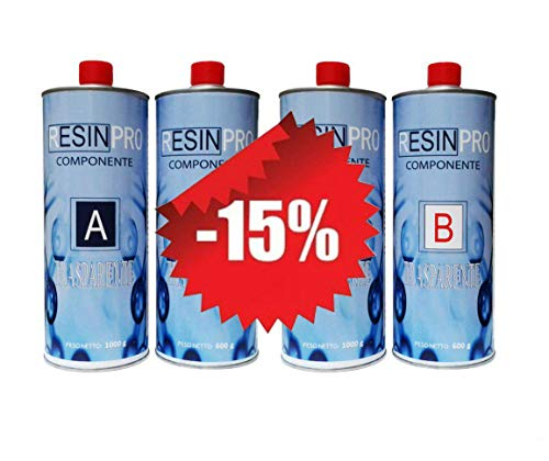 UN'OFFERTA SPECIALE (1,6 KG + 1,6 KG) - SET RESINA EPOSSIDICA TRASPARENTE / MULTIUSO KG 3,2 KG EFFETTO ACQUA