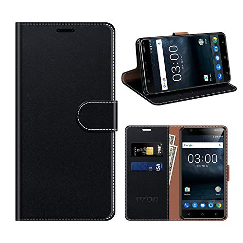 coodio Nokia 3 Hülle Leder, Nokia 3 Kapphülle Tasche Leder Flip Cover Schutzhülle Rugged für Nokia 3 Handyhülle, Schwarz