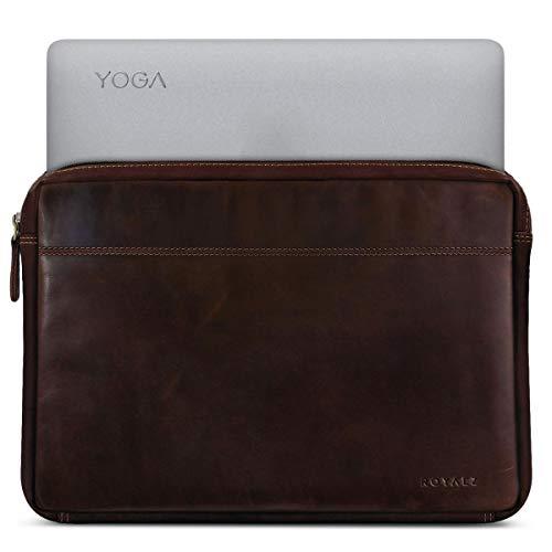 ROYALZ Tasche für Lenovo Yoga 920 Ledertasche (Auch für Yoga 910, Yoga 900s und Yoga 900 Geeignet) Lederhülle Hülle Schutztasche Schutzhülle Cover Sleeve Vintage Leder, Farbe:Dunkel Cognac Braun