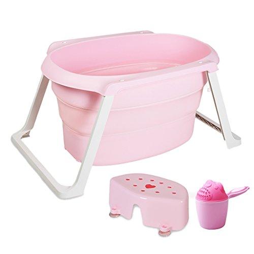 Kinder Falten Bad Kind Badewanne Barrel Baby kann verdickt Werden große Haushalts-Kunststoff-Wanne (Farbe : Pink, größe : 105 * 50cm)