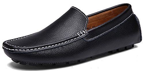 Joomra mocassins scarpe da uomo casual cuoio eleganti estivi nappine pelle senza lacci barca pantofola nero 45