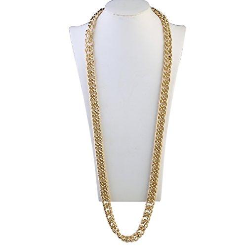 Schmuck Pimp Kostüm - OULII Hip Hop Halskette Rapper Kette 95 cm Gothic Hip Hop klobige Kette für Männer Frauen Schmuck Dekoration Gold