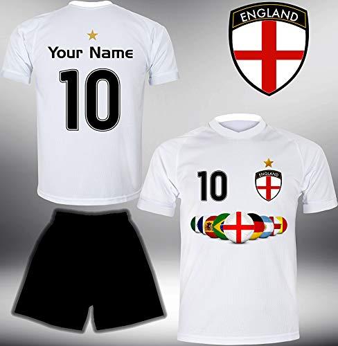 ElevenSports England Trikot Set 2018 mit Hose GRATIS Wunschname + Nummer im EM WM Weiss Typ #EN7th - Geschenke für Kinder Erw. Jungen Baby Fußball T-Shirt Bedrucken