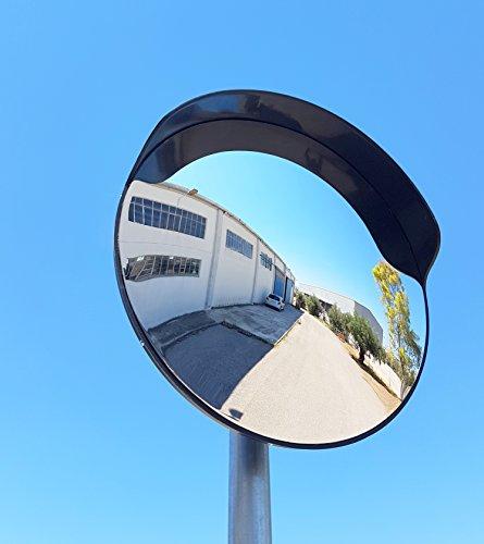 ECM-60-B2-o Konvex Spiegel, Schwarze Farbe, 60 cm Durchmesser, für Verkehrssicherheit und Schutz vor Ladendieben mit einstellbarem Befestigungsbügel für 60 mm Stangen Test