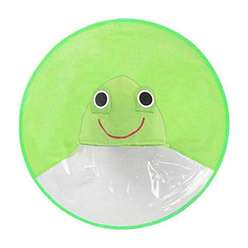 - Mingfa süßer Comic-Regenmantel-Schirm, UFO-Regenmantel, faltbar, wiederverwendbar, wasserdichter Poncho, für den Kopf, Draußen, für Kinder, Jungen und Mädchen, S, grün, 1