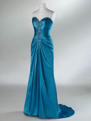GEORGE BRIDE schlanke Herz-Ausschnitt Perlstickerei lange Ballkleid/ Abendkleid Rose