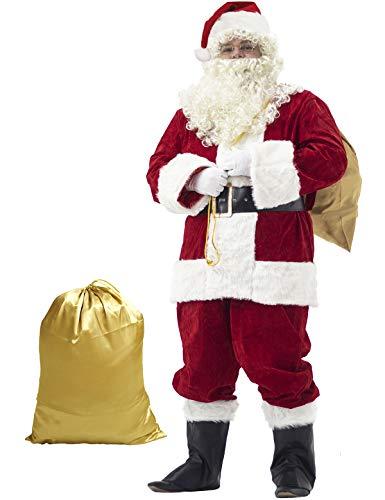 Ahititi Weihnachtsmann Kostüm Deluxe, Nikolauskostüm Santa Claus-Erwachsenenkostüm 10-Teilig L -