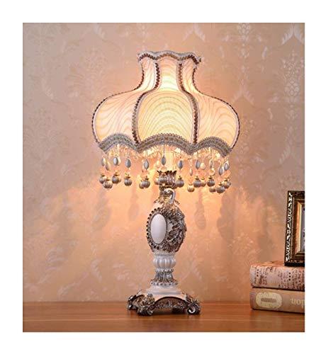 Europäischen Stil Tischlampe, Stoff Nachttischlampe Handgemachte Prinzessin Viktorianischen Stil Pfau Statue Harz Lampe Körper Schreibtischlampe Verwenden Sie E27 / E26 Lampen,L -
