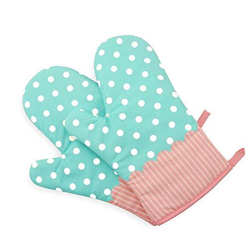 Isolationsofen Handschuh Hitzebeständige Anti-Hot Verdickte Handschuhe Küche Backhandschuhe für Mikrowelle Nette Welle Punkt Stil,Blue,Single -