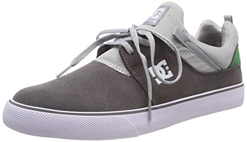 DC Shoes Heathrow Vulc, Zapatillas de Skateboard para Hombre, Gris Grey/Grey/Green Xssg, 39 EU