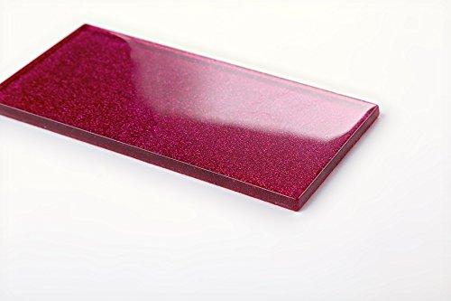 Glas Wand Fliese Pink Rosa mit Glitzer Fliese ist 7.5cm x 15cm. Die Stärke beträgt 6mm (MT0112)