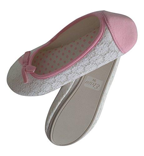 Etam , Damen Hausschuhe White and Pink