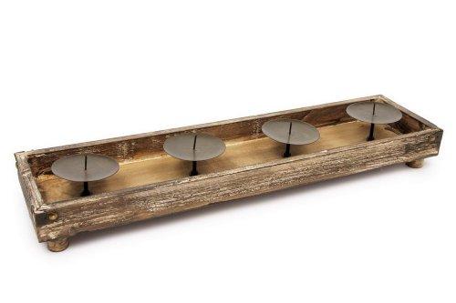 HSL Nature - Portavelas de Madera con Apliques de Metal (Velas no Incluidas)