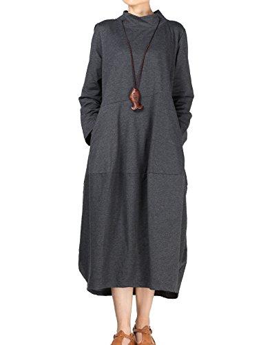 Vogstyle Femme Robe Manches Longues Col Montant Casuel Ample Pullover Longue Printemps/Automne Gris XL (L, Gris)