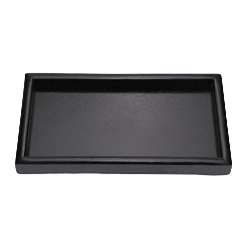 Black Rectangular Wooden Tea Tray, Restaurant Service Tray, Coffee Snack Food Solid Wood Tray(30 * 20 * 2cm)