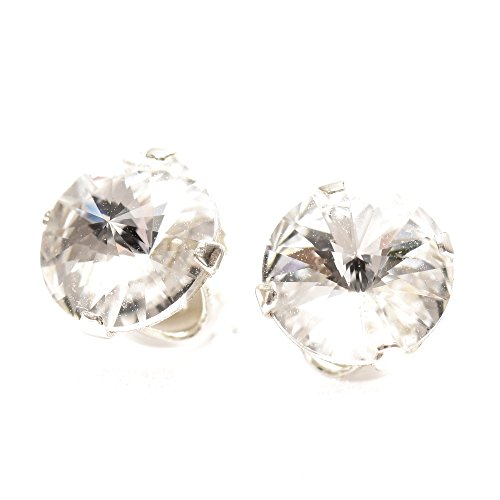 pewterhooter 925 Sterling Silver stud earrings expertly made with sparkling Diamond White crystal from SWAROVSKI®