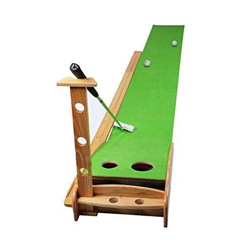 CloudWhisper Wood Indoor Golf Putter Trainer Practice Set Training Mat Indoor Mini Golf Putting