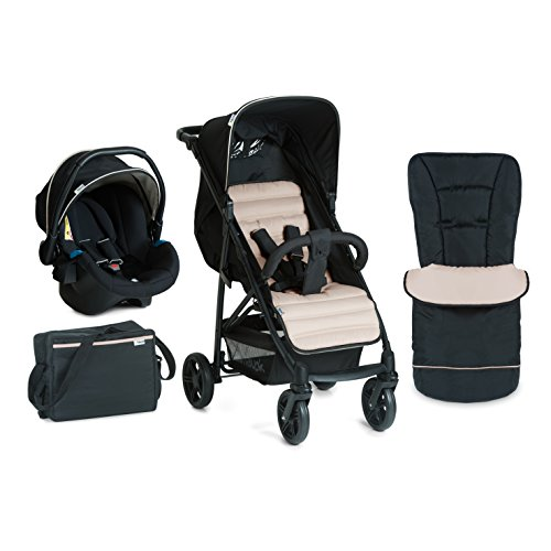 Hauck Rapid 4 Plus Shop-n-Drive Set Quick Fold Travel System, from Birth to 22 Kg, Black/Beige (Group 0+ Car Seat, Compatible with Optional ISOFix Base, Foot Muff, Changing Bag and Raincover)