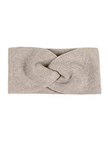 Zwillingsherz Stirnband mit Zopf-Knoten - Hochwertiges Strick-Kopfband für Damen Frauen Mädchen - Kaschmir - Ohrenschutz - Haarband - warm weich und luftig für Frühjahr Herbst und Winter - beige