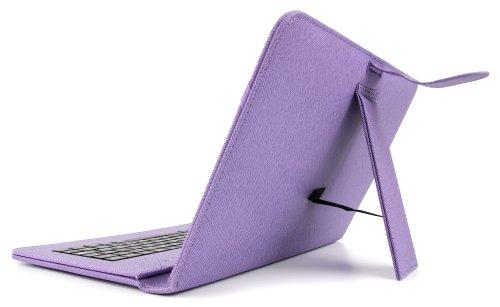 DURAGADGET Lila Deutsche QWERTZ Tastatur-Hülle mit Stand für TrekStor SurfTab B10 / SurfTab Breeze 10.1 Quad 3G