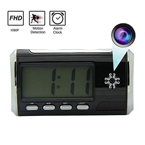 Inrigorous Hidden Camera Alarm Clock Portable Spy Camera DVR Motion Detection Remote Control with 16GB Micro SD Card