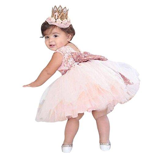 Bekleidung Longra Kinder Baby Mädchen Pailletten Boknot Kleid Ball Kleid Party Brautjungfer formelle Prinzessin Kostüm Kleid Kleidung (2-6 Jahre) (80CM 2 Jahre, Pink)