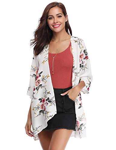 Aibrou cardigan di chiffon donna estivo scialle elegante a manicotto 3/4 copricostume stampa floreale aperto spiaggia blusa top kimono