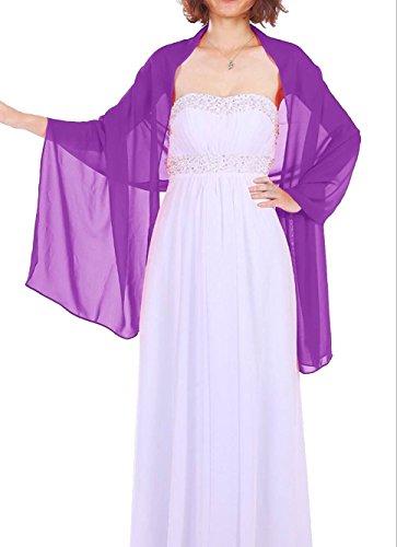 Dressystar AMY333 Chiffon Stola Schal für Kleider in verschiedenen Farben Purpur 200 * 75cm