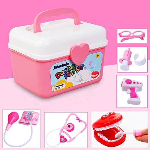 Shinehalo Arztköfferchen Set Doktorkoffer Medical Kit Spielset 36 Stück für Kinder, Rollen Spielen ALS Arzt Zahnarzt Krankenschwester Pink