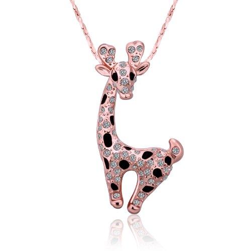 KOLA - Lega placcato oro con strass di cristallo rosa color Animal collane del pendente