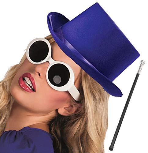 Labreeze Lila, Satin-Hut, silberfarbene Röhrengläser von Willy Wonka Factory Style ()