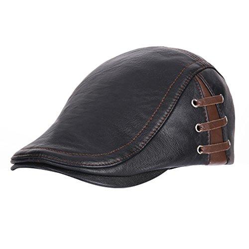 UNIQUEBELLA Men's Newsboy Cap Leather Flat Hat Ivy Cabbie Driving Hat Hunting Hat