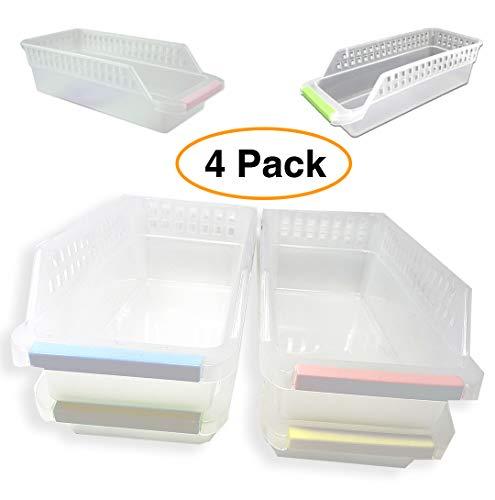 Schlanke Aufbewahrungskörbe aus Kunststoff, durchsichtig/weiß, 27,9 x 12,7 x 8,3 cm, für Speisekammer, Küchenutensilien, Badezimmer, Schreibtisch, Medizin, 4 Stück - 4 Stück Schreibtisch