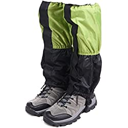 Triwonder Unisex Snow Leg Gaiters Impermeable Boot Polainas Senderismo Caminar Escalada Caza Ciclismo Leggings Cubierta (1 par)(verde y negro)
