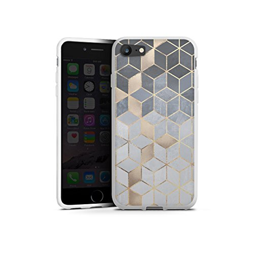 artboxONE Handyhülle iPhone 7 PINK GREY GRADIENT CUBES - Designcase Iphone 7- Smartphone Case mit Kunstdruck soft blue gradient cubes