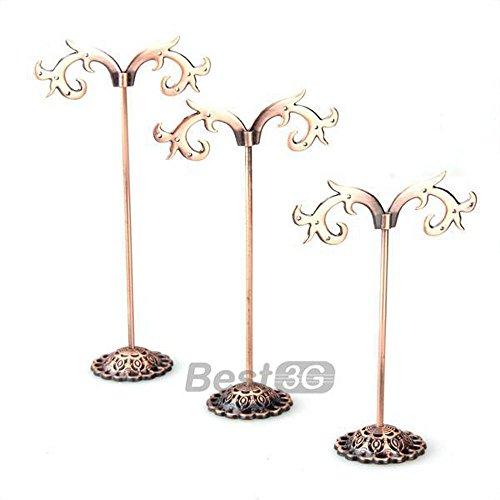 3 espositore stand porta orecchini colore rame vintage in acciaio inox