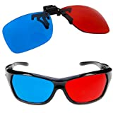 TOOGOO (R) 2x occhiali 3D rosso e ciano per i film 3D, videogiochi e TV (1x Clip On; 1x stile anaglifo )
