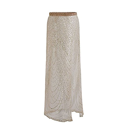 Vandot Damen Maxiröcke Mädchen Sarong Bling Pailletten Sexy Stretch Perspective Side Split Bademode Sommerkleid Strandkleid Beachwear Cover up Dress elastischen Bund Kleid -Gold XL