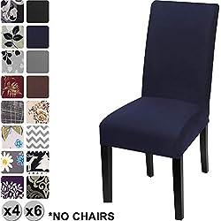 YISUN Fundas de Silla de Comedor Elásticas y Modernas, Extraíbles y Lavables, Fundas de Licra para sillas Altas 4/6 Piezas Fundas Protectoras para sillas (Azul Oscuro/Sólido, Paquete de 6)
