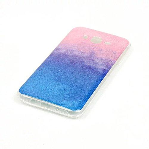 KSHOP Case Cover Stampa Custodia Protettiva per iphone SE /iphone 5 /iphone 5SShell Carcasa Trasparente Ultra Flessibile Colorato Ammortizzante Shock-Absorption Conchiglia - Bianco Blu glitter13