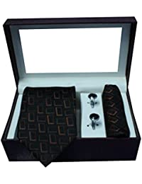 Riyasat - Geometrical Design Black Color Micro Fibre Men,s Tie, Cufflink and Pocket Square Gift Set .(S_ 117)