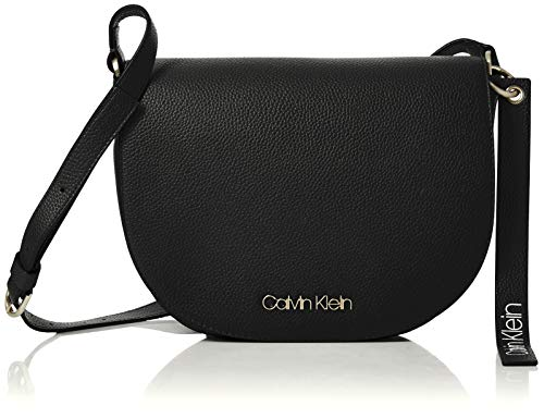 Calvin Klein Jeans Damen Neat Medium Saddle Bag Umhängetasche, Schwarz (Black), 5x20x25 cm